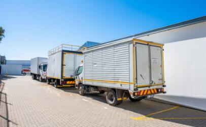 Parked trailer trucks