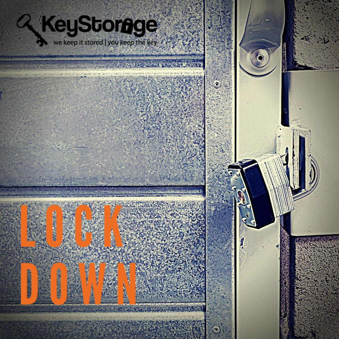 Padlock locking a storage facility door