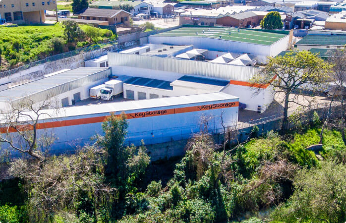 An aerial view of the storage facility