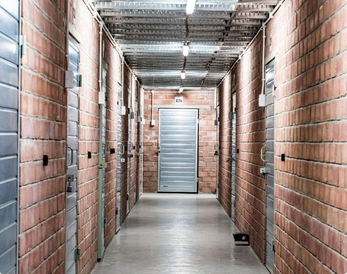 Bricked walls hallway of a storage facility