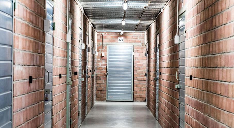 Hallway of a storage facility